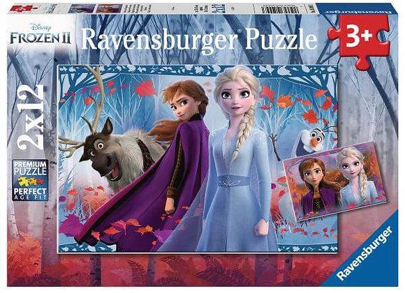 Puzzle 2x12 pièces Voyage vers l'inconnu Reine des neiges 2 - RAVENSBURGER