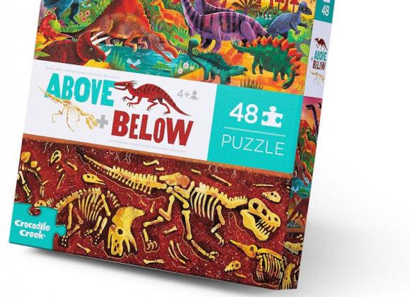 Puzzle 48 pièces  dessus-dessous 'Le monde des dinosaures - CROCODILE CREEK