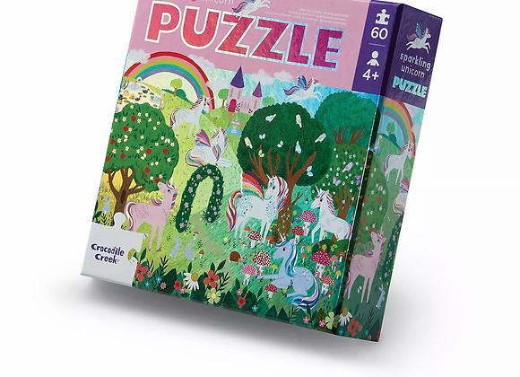Puzzle 60 pièces Licornes brillantes - CROCODILE CREEK