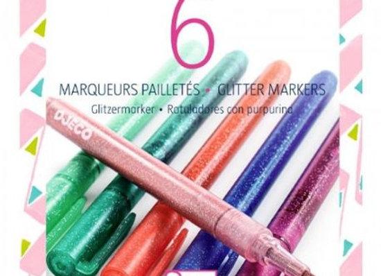6 marqueurs pailletés sweet - DJECO