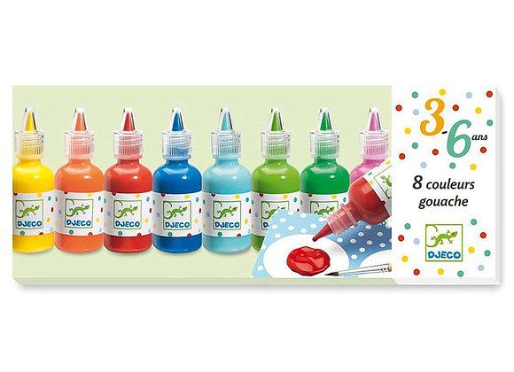 8 bouteilles de gouache avec pinceau - DJECO