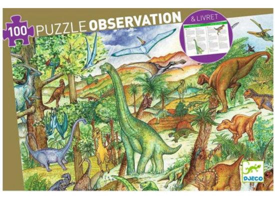 Puzzle Observation 100 pièces Dinosaures - DJECO