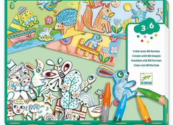 Créer avec 80 formes Un monde à créer Animaux - DJECO