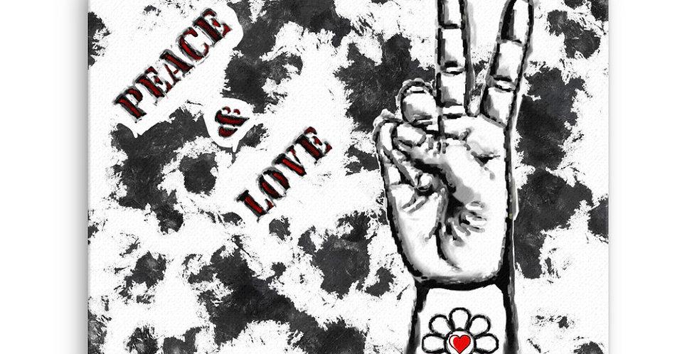 """Peace & Love (Graffiti)"" Canvas Print"