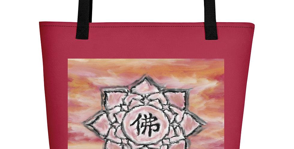 """Buddha Lotus (Crimson Sunset)"" Tote Bag"
