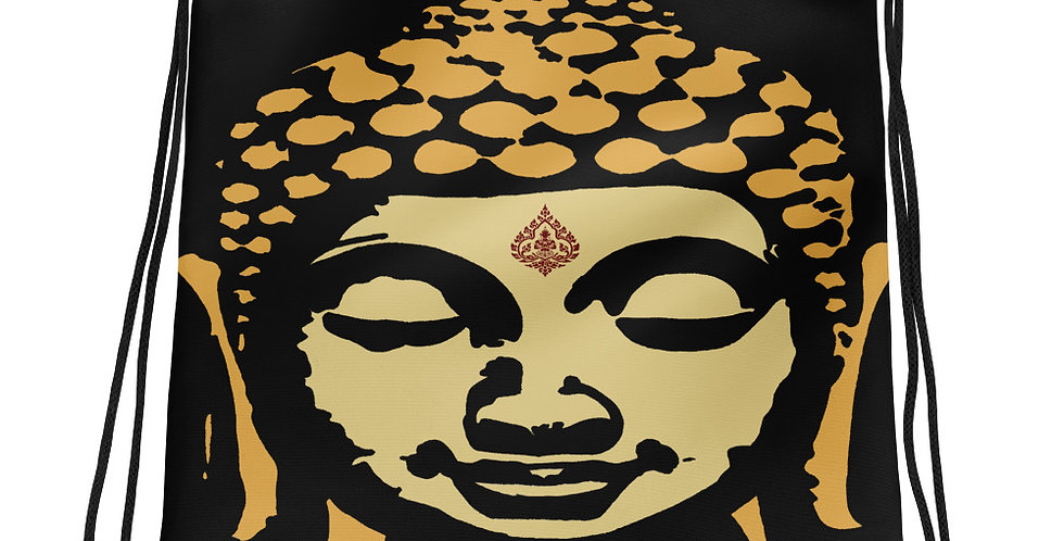 """Double Buddha"" Drawstring Bag"
