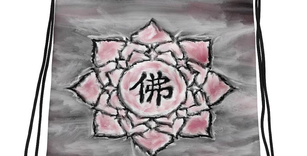 """""""Buddha Lotus (Crimson Storm)"""" Drawstring Bag"""