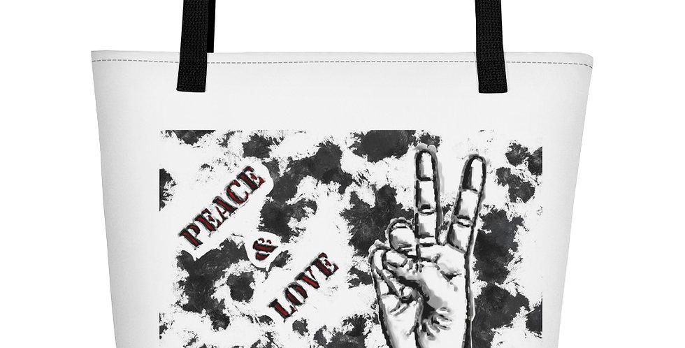 """Peace & Love (Graffiti)"" Tote Bag"