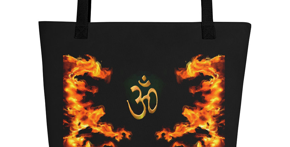 """Fire Dragon Om"" Tote Bag"