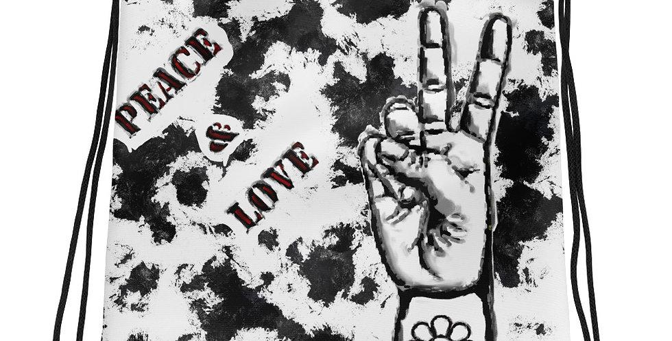 """""""Peace & Love (Graffiti)"""" Drawstring Bag"""
