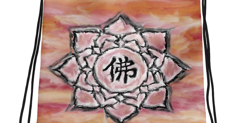 """""""Buddha Lotus (Crimson Sunset)"""" Drawstring Bag"""