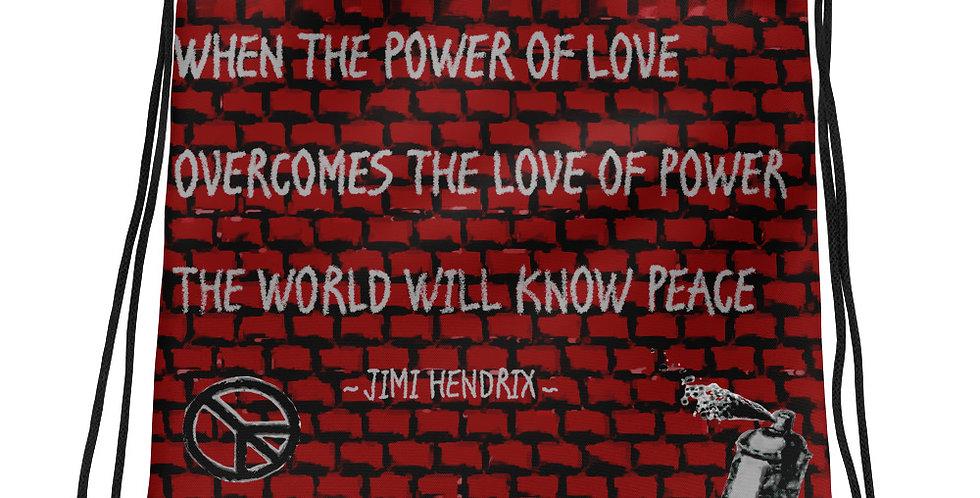 """Hendrix Quote"" Drawstring Bag"