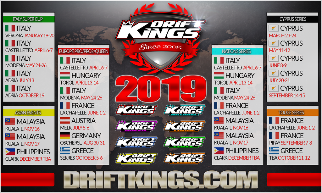 Calendrier 6 Nation 2019.2019 Drift Kings Calendar