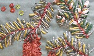Botanisch borduren, de Spar. Yllebroderi en zijdelint.