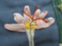 Botanisch borduren. De crocus in zijdelint.