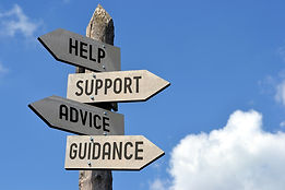 signpost pointing to help, support, advice and guidance