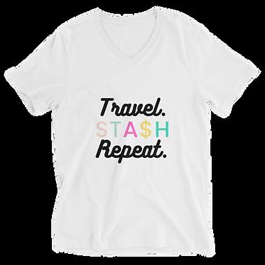 Travel. Stash. Repeat Unisex Short Sleeve V-Neck T-Shirt
