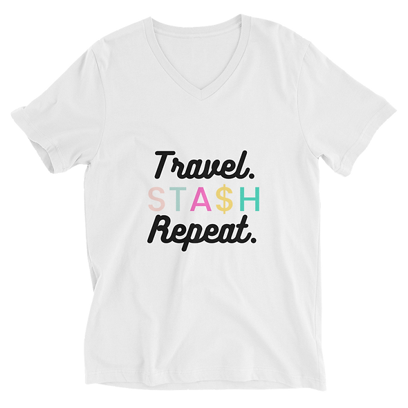 Travel. Stash. Repeat Unisex Short Sleeve V-Neck T-Shirt