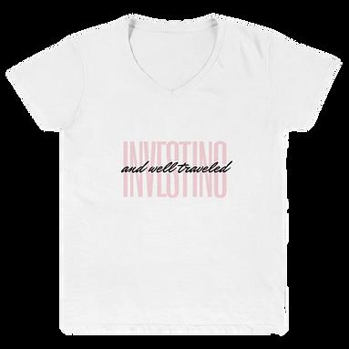 Investing + Well Traveled Women's V-Neck Shirt