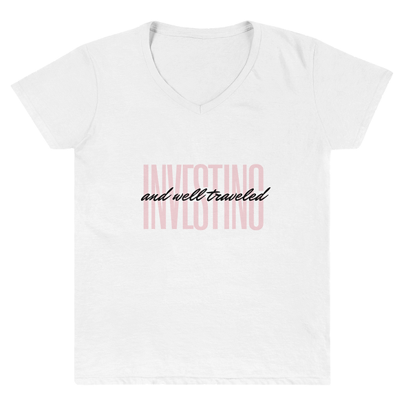 Investing + Well Traveled Women's V-Neck Shirt