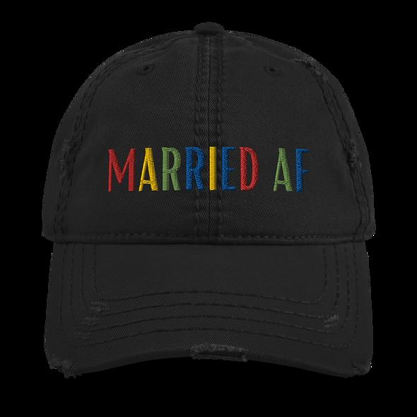 """Married AF"" Distressed Dad Hat"
