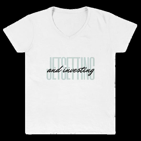 Jetsetting & Investing Women's Casual V-Neck Shirt