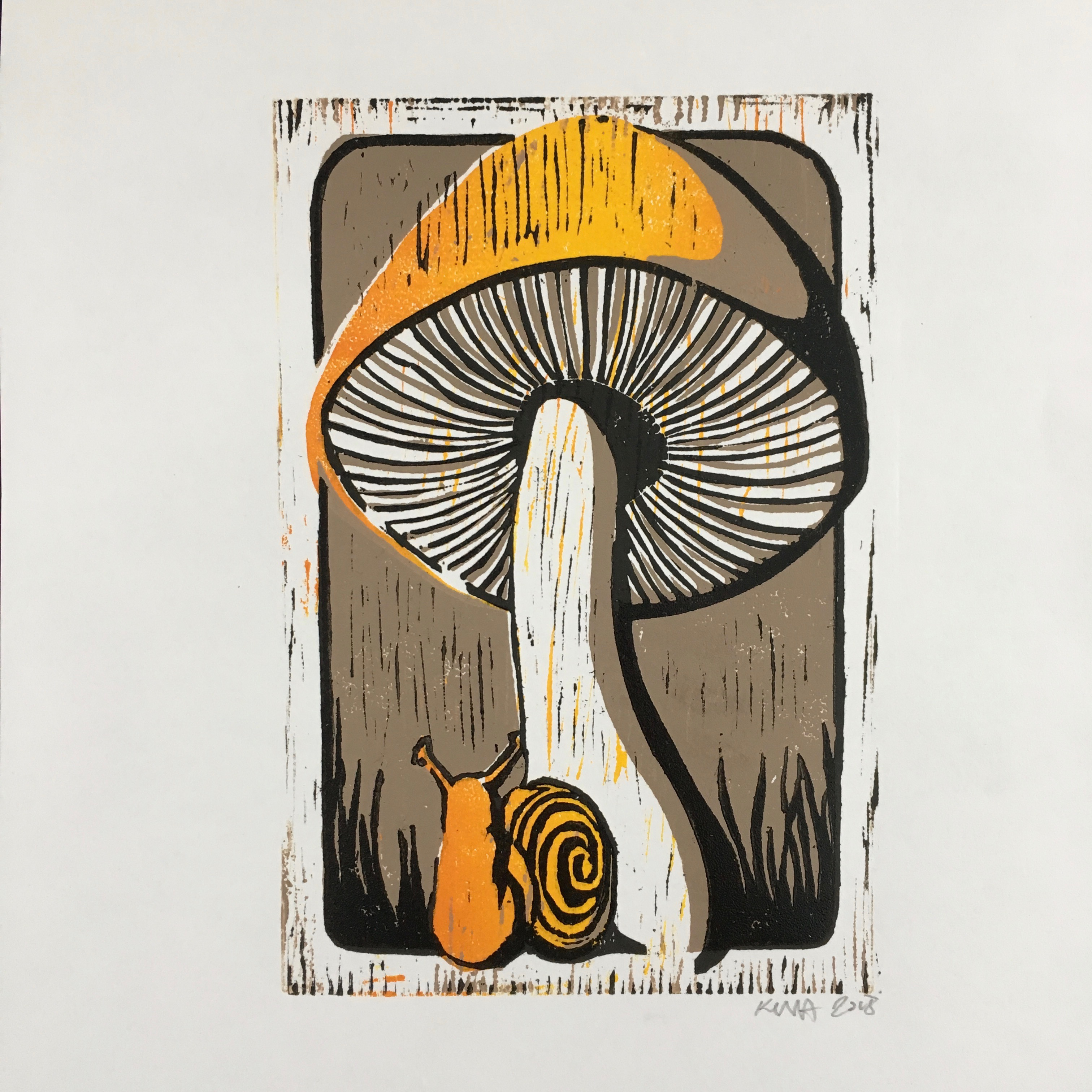 mushroom and snail in brown