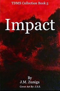 Book cover Impact. Red and black abstract art.