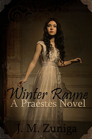 Book cover Winter Rayne. Slightly transparent teen with long dark hair  in cream colored gown.