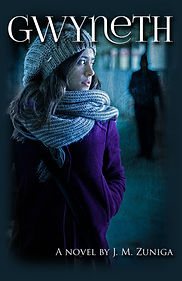 Book cover Gwyneth. Young woman in purple coat, scarf, and beanie. Shadow stalking her.