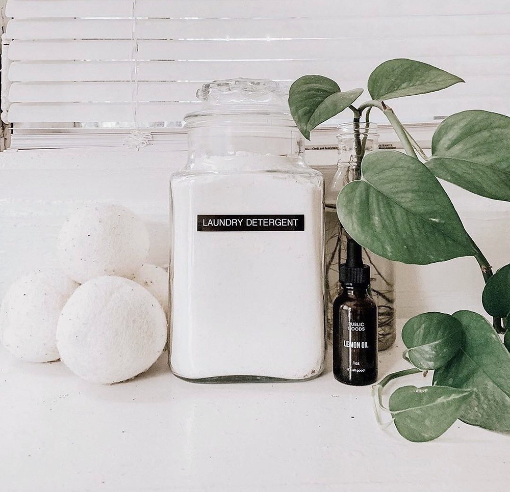 Diy natural Laundry Detergent Powder in a glass jar