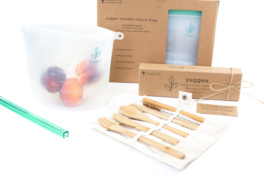 yuggen be the change reusable zero waste ziplock bags and bamboo utensils featured on the sustainable collective blog