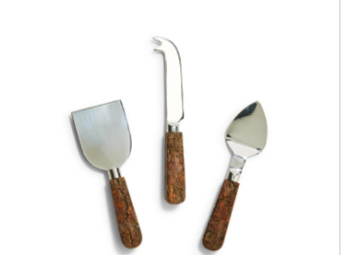 TWO'S COMPANY Rustic Charm Set of 3 Bark Handle Cheese Knives in Gift Box