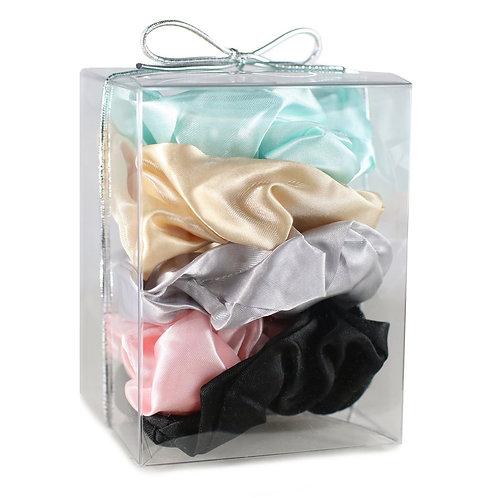Morning Glamour 5 Pack Satin Hair Scrunchies Gift Box