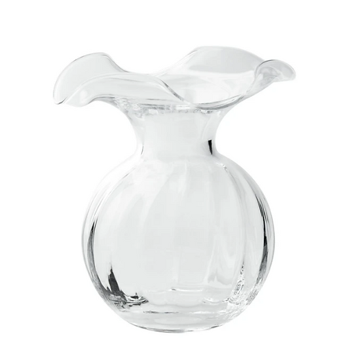 VIETRI HIBISCUS HIBISCUS GLASS CLEAR SMALL FLUTED VASE