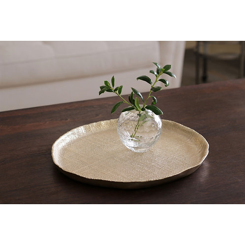 BEATRIZ BALL GLASS Faceted Round Bud Vase (Clear)  - SMALL