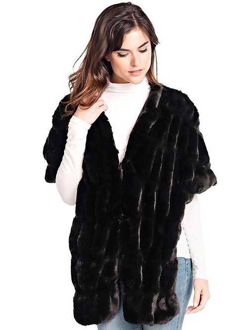 Donna Slayers Fabulous Furs- MINK COUTURE FAUX FUR POCKET SHRUG in Black