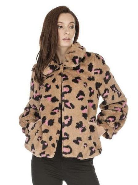 JOY JOY Faux Fur Leopard PINK Jacket