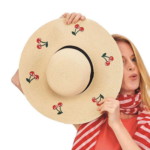 2 chic Cherry on Top Embroidered Floppy Straw Hat