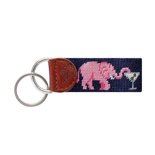 Smathers & Branson - Elephant Martini Needlepoint Key Fob