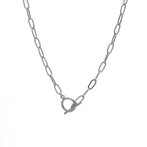 Kenda Kist SILVER Paper Clip Chain Toggle Necklace