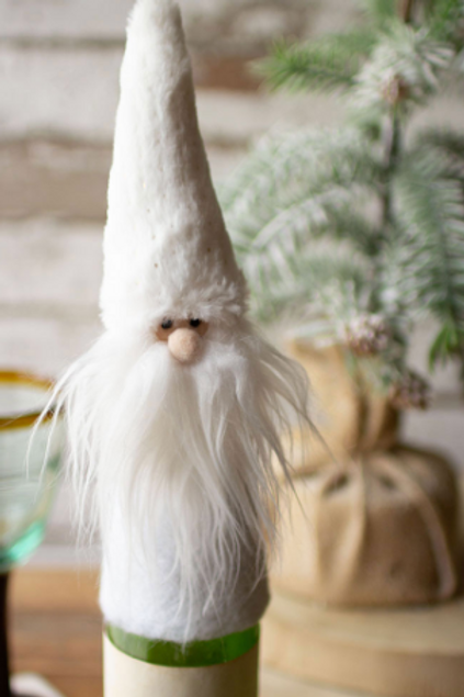 Kalalou White Felt Santa Wine Topper