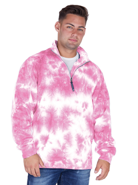 CHARLES RIVER APPAREL CROSSWIND QUARTER ZIP SWEATSHIRT in PINK TIE-DYE