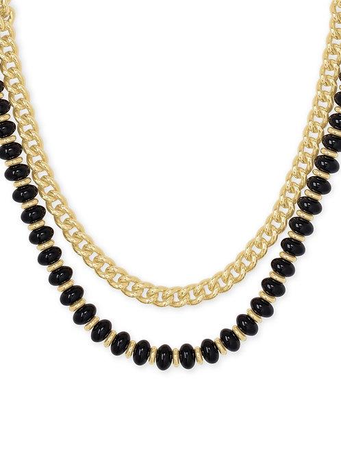 Kendra Scott Rebecca Gold Multi Strand Necklace In Black Agate