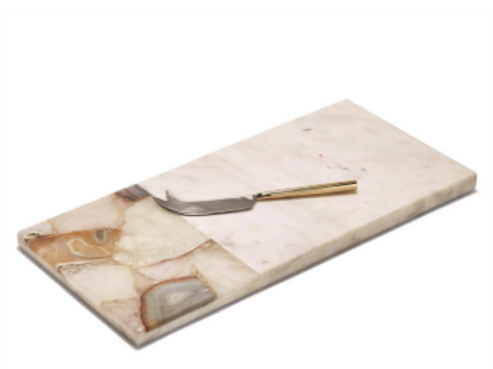 TWO'S COMPANY Marble Board w/ Knife