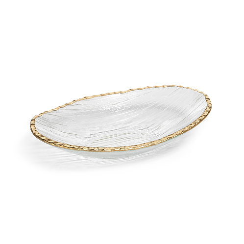ZODAX CLEAR TEXTURED BOWL WITH JAGED GOLD RIM