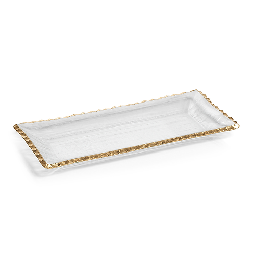 "ZODAX 14.5"" TEXTURED RETANGULAR TRAY WITH JAGGED GOLD RIM"