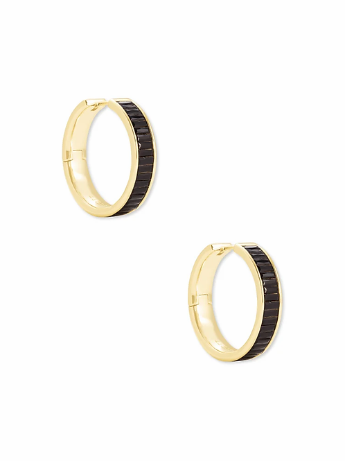 Kendra Scott Jack Gold Hoop Earrings In Black Spinel