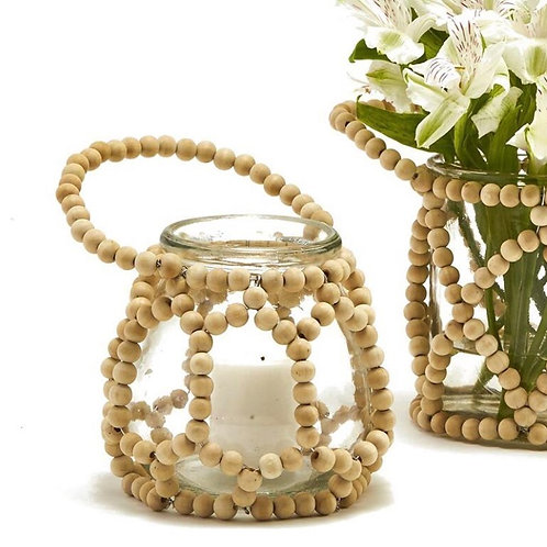 BAMBOO BEADED ACCENT JAR - SMALL