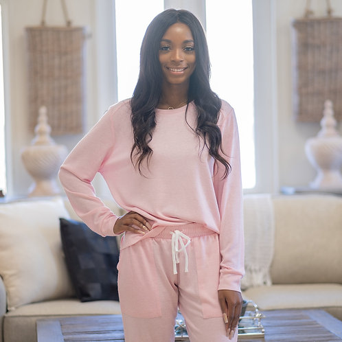 Effortless Lounge High Low Pullover in Light Pink